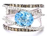 LeVian Swiss Blue Topaz Chocolate and White Diamonds Cocktail Criss Cross Gladiator Ring 2.57 cttw, size 7