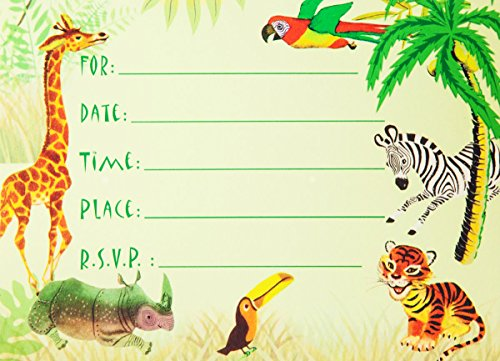 Animals Birthday Party Invitation (Dolce Mia Jungle Animals Safari Birthday Party Invitations Party Pack - 8 cards)