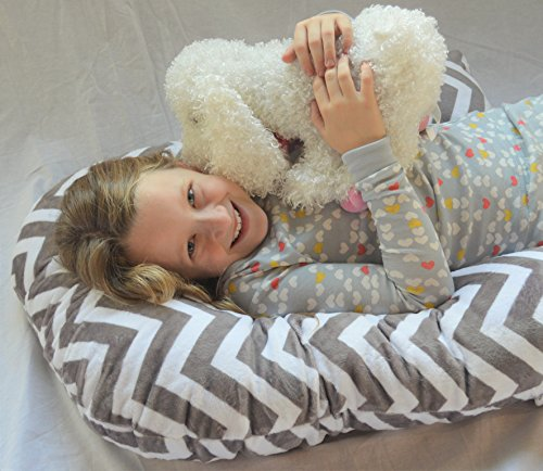 Sleep Zzz Bedtime Pillow w/Removable Washable Cover- Grey Cuddle