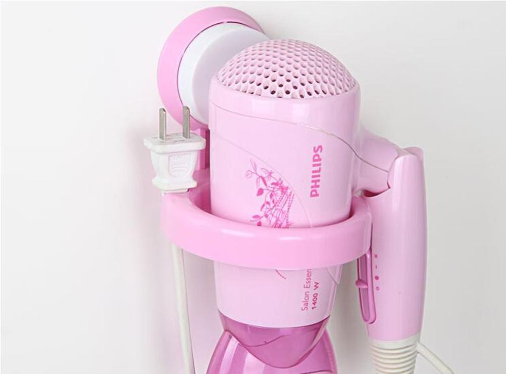 ssbyファッションプラスチックsuction-cup-dryerラック、防水、強力な荷重を受ける、バスルームヘアドライヤーホルダーラック壁マウント pink 6797815130391 B01LWKS18D