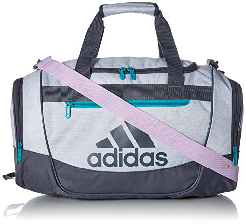 adidas Defender III Small Duffel, White Jersey/Onix/Clear Lilac Purple/Hi - Res Aqua G, One Size -