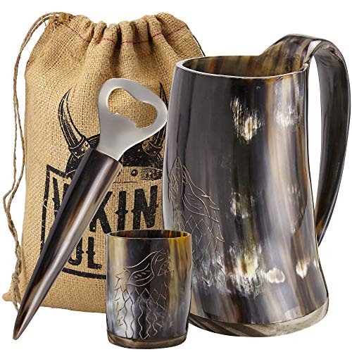 Viking Culture Ox Horn Mug, Shot Glass, and Bottle Opener (3 Pc. Set) Authentic 16-oz. Ale, Mead, and Beer Tankard | Vintage Stein with Handle | Custom Intricate Design