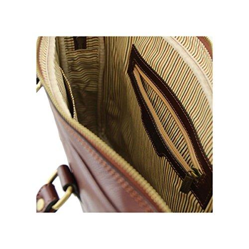 Prato Tuscany Cartella In Notebook 5 Di Marrone Leather Porta Tl141283 Pelle Esclusiva Moro Testa r5grwq