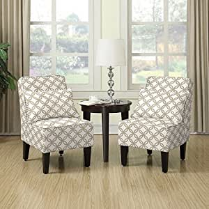 kitchen accent furniture amazon com armless accent chair with matching pillows set of 2 honeycomb barley tan 5852