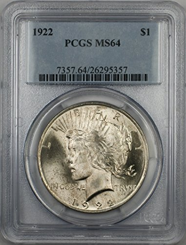 1922 Peace Silver Dollar Coin $1 PCGS MS-64 Light Toning (2J)
