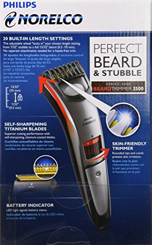 Philips Norelco BeardTrimmer 3500, cordless with adjustable length settings (Model # QT4014/42)