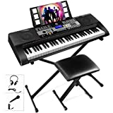 Mustar 61 Weighted Keys Electronic Keyboard Piano Music Keyboard kit with Headphones, Microphone, Piano Stand and Stool,Full Size Weighted Keys/LCD Screen