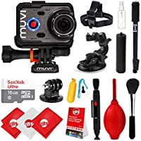 Veho Muvi K-Series K-2 PRO 1080p 12MP 4K HD WiFi Waterproof Camera with 16GB + Carrying Case +Monopod + Stabilizing Hand Grip + Floating Grip + Head Strap + Tripod Mount VCC-007-K2PRO