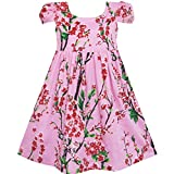 Sunny Fashion Girls Dress Chinese Plum Flower Print Princess Pink