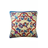 Mogul Decorative Cushion Cover Bold Embroidered Multi Color Sofa Throw Pillow Cover 16X16 (Multi-2)