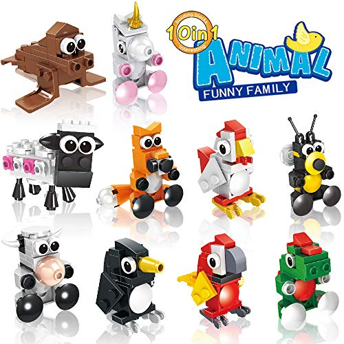 HomeMall Building Blocks Animals 10 in 1 STEM Building Bricks, Animals Toys Learning Set, Party Favors for Kids, Prizes for Kids Classroom, Goodie Bag Fillers (10 PCS Animal)