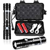 OTYTY USB Rechargeable LED Flashlight, Super Bright High Powered 1000 Lumen Tactical Flashlights Torch with 3 Modes, Pocket Clip, 18650 Battery and USB Cable For Camping Hiking (2 Pack)