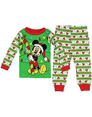Disney Mickey Mouse Baby Boys' Toddler Christmas Cotton Pajama Set