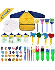 AM ANNA Kids Early Learning Sponge Painting Brushes Kit, 47 Pieces Sponge Drawing Shapes Paint Craft Brushes for Toddlers Assorted Pattern, Including Children Waterproof Art Painting Smock Apron