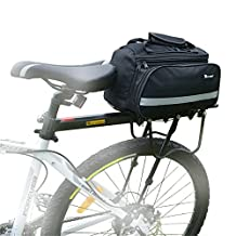 West Biking 10-25Lb High-Capacity Multi-functional Bicycle Rear Seat Trunk Bag Portable Strap Bag Pannier With Rain Cover