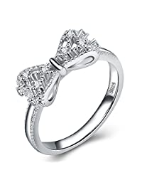 Silver Plated Ring for Women Cubic Zirconia CZ Diamond Eternity Engagement Wedding Band Rings