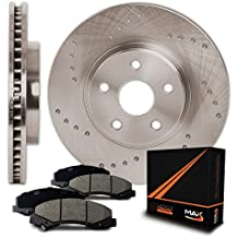 Max Brakes Front Cross Drilled Rotors w/Ceramic Pads Performance Brake Kit KT013621 | Fits: 2004 04 2005 05 Buick Rainier CXL or CXL Plus Models with 4.2L 6 Cylinder Engine