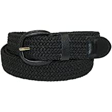 CTM Men's Elastic Braided Belt with Covered Buckle (Big & Tall Available)