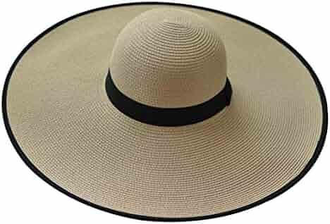 95b83bb3ef8 JOYEBUY Womens Ladies Large Brim Straw Hat Floppy Foldable Roll up Cap Beach  Sun Hat