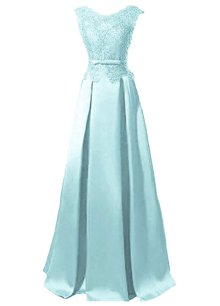 Light bluee Baixia Womens Lace Embroidery Illusion Satin Evening Party Long Prom Dress