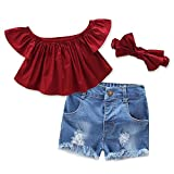 baby girls red top + shorts jeans + headband 3pcs set summer casual kids clothes