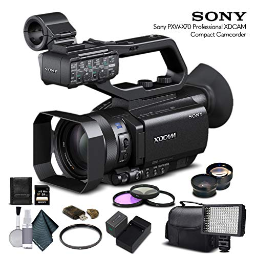 Sony PXW-X70 Professional XDCAM Compact Camcorder (PXW-X70) with 64GB Memory Card, Extra Battery and Charger, UV Filter, LED Light, Case, Telephoto Lens, Wide Angle Lens, and More - Advanced Bundle