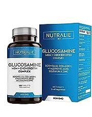Glucosamine met Chondroïtine, MSM en Collageen | Behoud van Normale Botten met Glucosamine, Chondroïtine, MSM, Collageen, Hyaluronzuur, Boswellia, Selenium, Zink | 120 Nutralie Tabletten