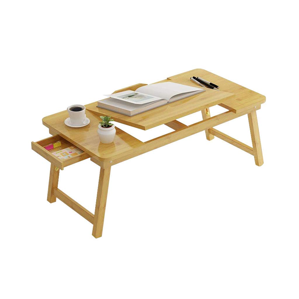LiTing-Folding Table Bamboo Laptop Desk Bed Simple Small Desk Desk Home Mobile Folding Lazy Bed Student Reading Study Table (Size  85x33x32cm)