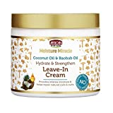 African Pride Moisture Miracle Coconut Oil & Baobab Oil Leave-In Cream - Provides Intense Moisture & Helps Repair Natural Coils & Curls, Hydrates & Strengthens, 15 oz (Tamaño: Single)