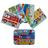 "Vileafy Transportation Series Jigsaw Puzzle Sets, 4-Pack 4 Complexities, Best for 3-5 Years Old Babies to Develop Dexterity and Problem Solving, Free Iron Box for Easy Storage, 6 1/2"" X 4 1/2""."