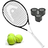 HEAD Graphene 360 Speed Junior Black/White Midplus 16x19 Tennis Racquet Starter Kit or Set Bundled with (1) Can of 3 Tennis Balls and (1) 3-Pack of Overgrips