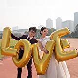 Cypre-Love Letters 40 Inch Large Gold or Silver Foil Balloons - Wedding Party Decoration (Gold)