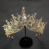 Baroque Queen Crown, Handmade Gold Wedding Tiaras and Crown for Bride Crystal Rhinestone Headband Tiara for Women – Wedding H