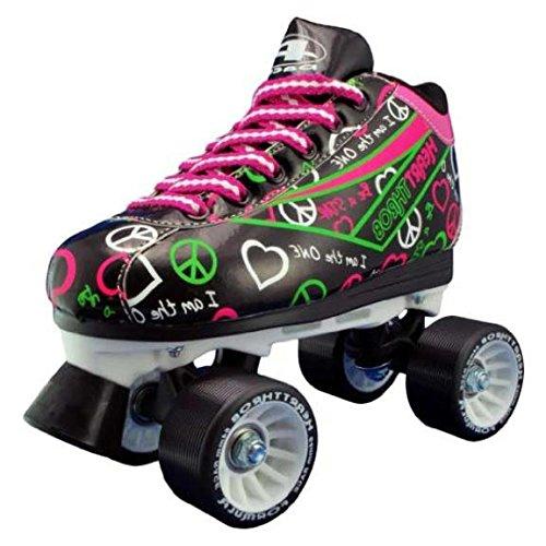 Pacerブラック&ネオンハートドキドキQuad Roller Speed Skates with Bonus 3 Pr。靴紐 ブラック Ladies 6 / Mens 5