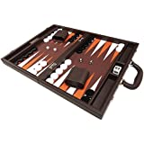 16-inch Premium Backgammon Set - Medium Size - Dark Brown Board