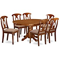 East West Furniture AVNA7-SBR-C 7-Piece Dining Table Set