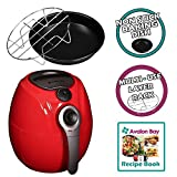 Avalon Bay AirFryer with Rapid Air Circulation Technology, Large 3.2L Capacity, Temperature up to 400 Degrees, Oil-Less Healthy Air Fryer, Red, AB-Airfryer100R