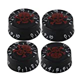BQLZR Electric Guitar Black Knob with Red Skull Pattern Pack of 4