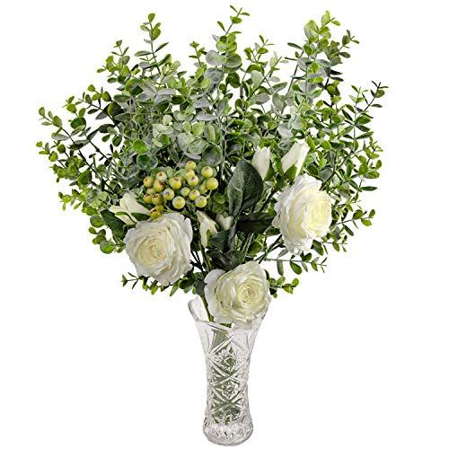 Rosas Artificiales y Eucalipto con Florero en Vaso - Blanco Flor Artificial Seda Rosa con Hojas de Eucalipto y Ramas de Bayas para Ramilletes de Boda, Centros de Mesa, Decoracion Fiesta en Casa