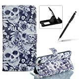Rope Leather Case for iPhone 8 Plus,Wallet Flip Case for iPhone 7 Plus,Herzzer Stylish Luxury 3D Special Effects Skull Flower Pattern Premium PU Leather Stand Cover with Soft Rubber