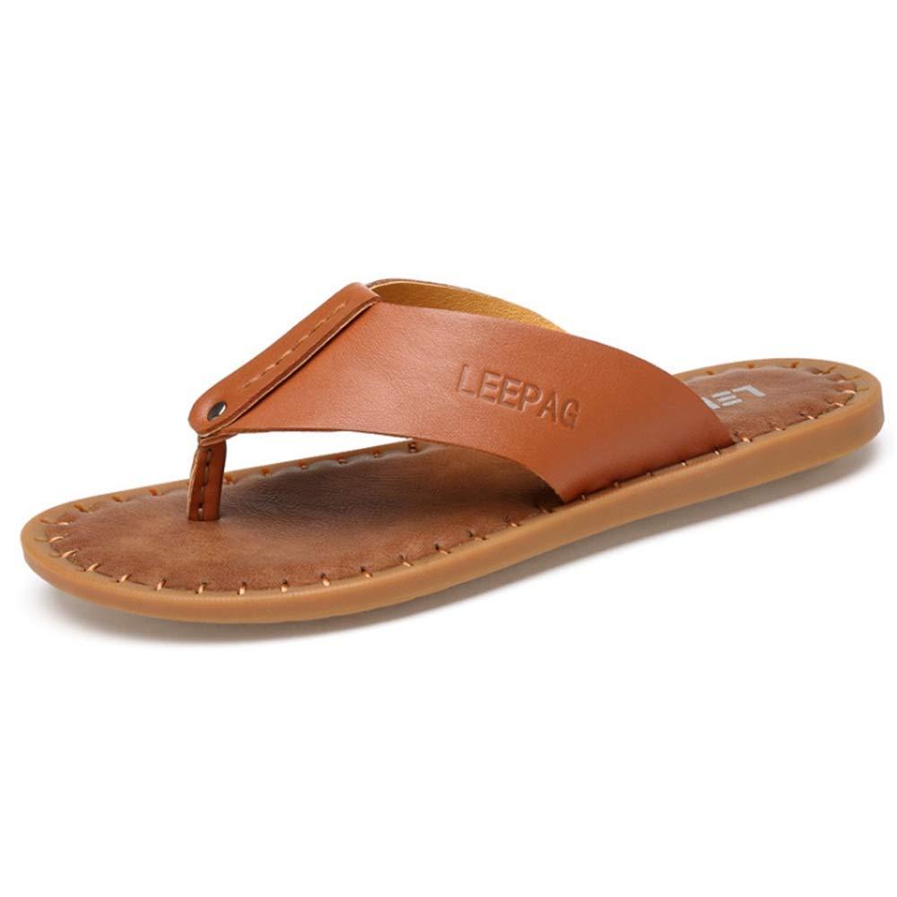 Zapatillas Zapatillas De Cuero De Ocio Al Aire Libre De Los Hombres De Deslizamiento con Zapatillas Antideslizantes Y Transpirables (24.0-27.0) CM Zapatos de Playa 40 2/3 EU Marrón