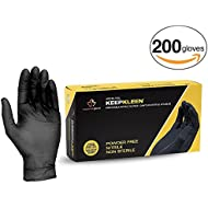 "Superior Black Nitrile Gloves, Latex Free Glove, Disposable Gloves, Powder Free, Ultra Thin 3.5 mil Thickness, 9"" Length, Size Large (Box of 200)"