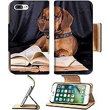 MSD Premium Apple iPhone 7 Plus Flip Pu Leather Wallet Case IMAGE ID: 10142599 puppy purebred dachshund