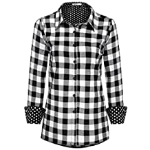 Meaneor Women Casual Long Sleeve Button Down Polka Dot Lined Plaid Flannel Shirt