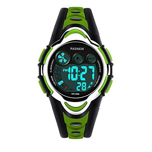 Boys Watch, PASNEW Cool Design Lightweight Waterproof Sports Kids Watch for Boys Gifts Age 5-12 Green