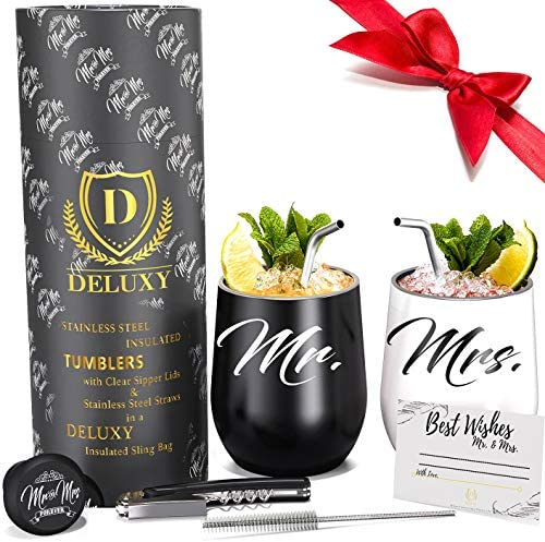 DELUXY Mr and Mrs Wine Tumblers - Perfect Engagement Gifts For Couples, Bridal Shower Gifts For Bride, Wedding Gifts For Couples - Couple Drink Cups Perfect For Hot, Cold Coffee, Tea, Wine, Cocktails…