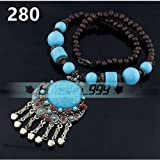 280# Blue Fashion Women Jewelry Pendant Crystal Choker Chunky Statement Chain Bib Necklace