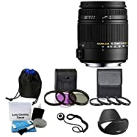 Sigma 18-250mm f3.5-6.3 DC MACRO OS HSM for Nikon Digital SLR Cameras + Lens Pouch With 3 Piece Filter Kit (UV-CPL-FLD) 62mm + 4 Piece Close-Up Macro Filter Kit Top Value Advantages Review Image