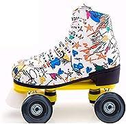 Roller Skates PU Leather High-top Skate for Adult Outdoor Skating Light-Up Four-Wheel Roller Skates Shiny Roll
