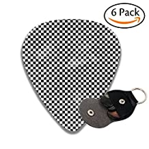 Lattice Leather Pick Holder Keychain - 351 Shape Classic Guitar Picks (6 Pack) For Electric Guitar, Acoustic Guitar, Mandolin, And Bass (0.46mm, 0.71mm, 0.96mm)
